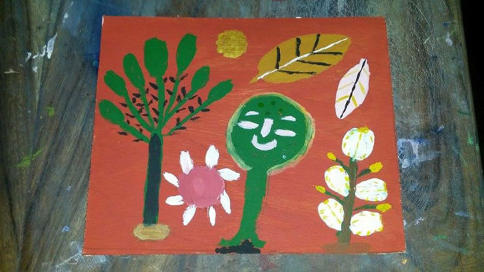 Art collective painting on wood