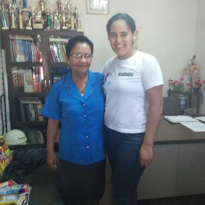 Ramona Perez Vega and Elioena Arauz , principle of Pablo V1 Secondary School and Artists for Soup's Agricultural Technician