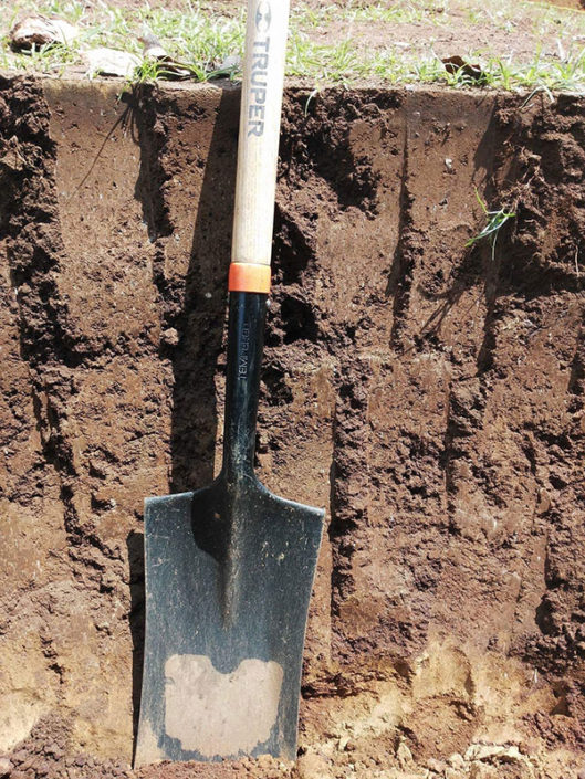 excavating tropical soil for gardens